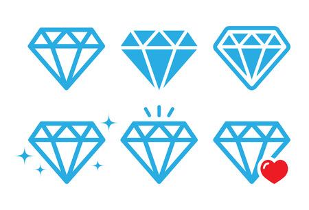 Diamond luxury icons set