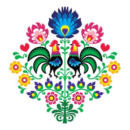 ポーランド語民俗刺繍の鶏 - と花柄 Wzory Lowickie Wycinanka