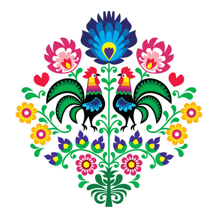 Polish folk embroidery with roosters - floral pattern Wzory Lowickie Wycinanka Vector