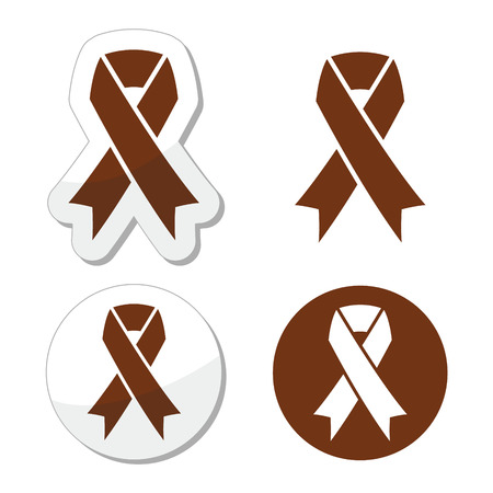 Brown ribbon anti-tobacco symbol, awereness of colon cancer, colorectal cancer Vector