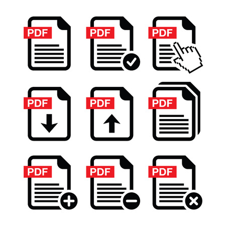 few: PDF download and upload icons set    Illustration