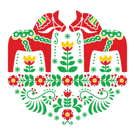 Dala del sueco o folk patrón floral caballo Daleclarian