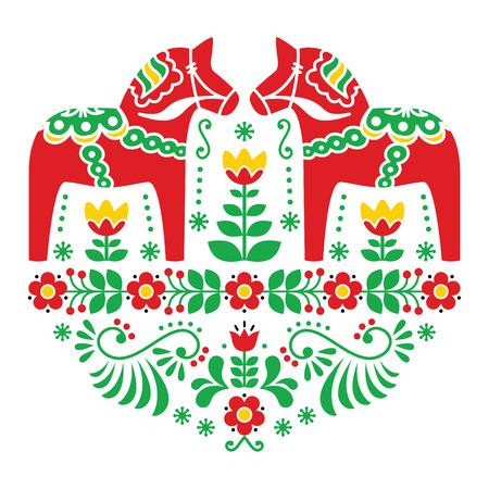 Szwedzki koń Dala lub Daleclarian ludowy wzór kwiatowy