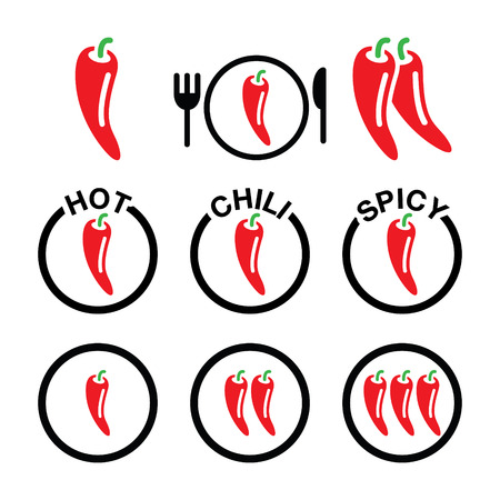 cayenne: Red hot chili peppers icons set Illustration