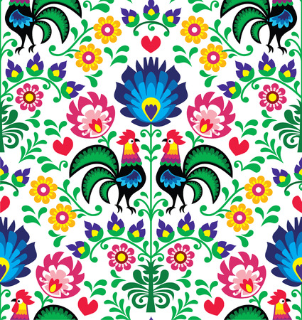Seamless traditional floral Polish pattern with roosters Vector