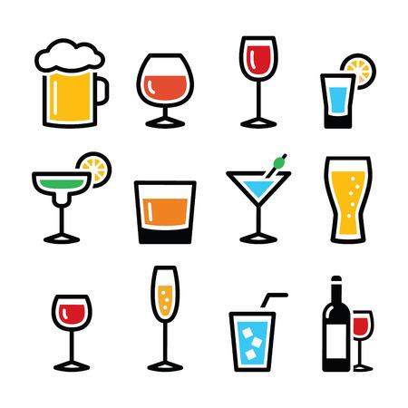 Boire des boissons d'alcool icônes colorées fixées Banque d'images - 28459296