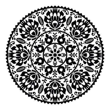 Polish traditional black folk pattern in circle - Wzory Lowickie Vector
