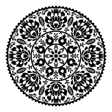 Polish traditional black folk pattern in circle - Wzory Lowickie