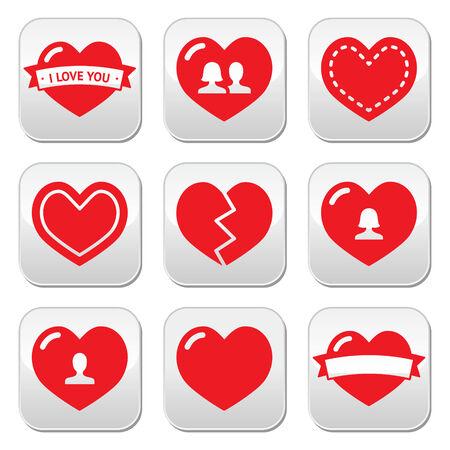 Amor corazones iconos fijados para el Día de San Valentín
