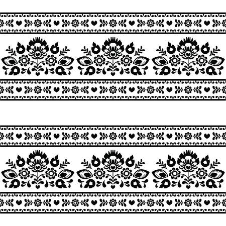 Folk patrón Seamless polaco negro con flores en blanco