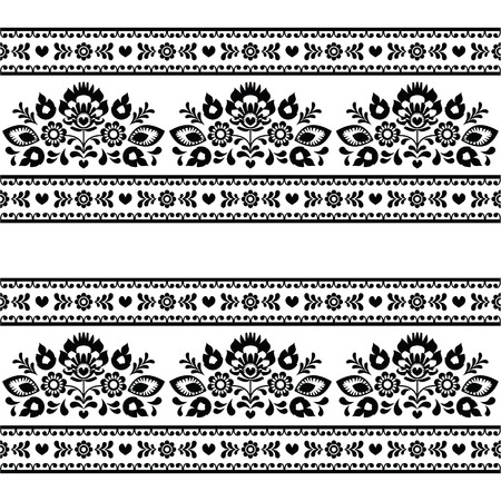 Seamless Polish black folk pattern with flowers on white