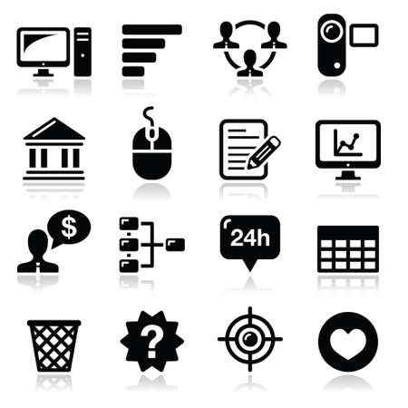Website menu navigation black vector icons set Vector