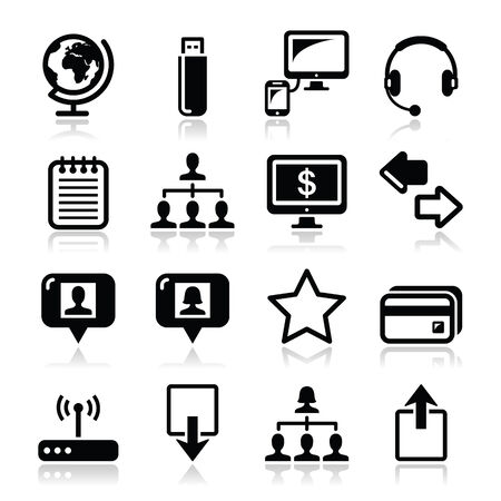 Web, internet simple black vector icons set  Vector
