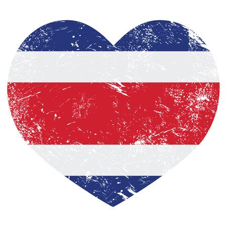 costa rica flag: Costa Rica retro heart shaped flag