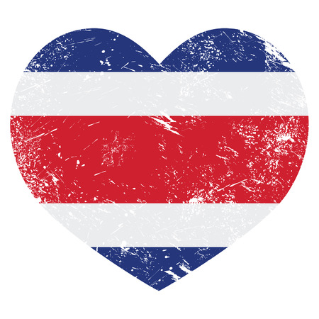 Costa Rica retro heart shaped flag  Vector