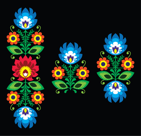 Folk embroidery with flowers - traditional Polish pattern Wzory Lowickie Vector