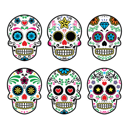 Mexican sugar skull, Dia de los Muertos icons set on white background Ilustracja