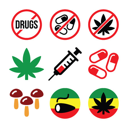 heroin: Drugs, addiction, marijuana, syringe colorful icons set