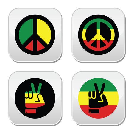 Rasta peace, hand gesture vector icons set Illustration