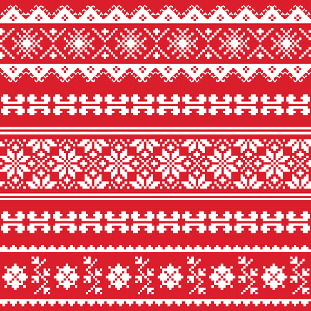 Ukrainian folk emboidery white pattern on red background Vector