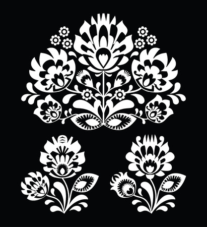 Polish floral folk white embroidery pattern on black background - wzory lowicki  Vector