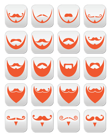 Ginger beard with moustache or mustache vector icons set Vector