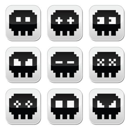 8bit: Pixelati 8bit cranio icone vettoriali