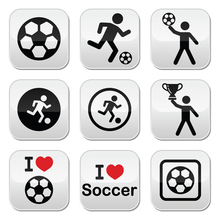 kicking ball: Me encanta el f�tbol o el f�tbol, ??el hombre pateando la bola botones conjunto de vectores