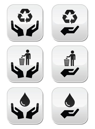 Hands with green, ecology symbols icons set Vector