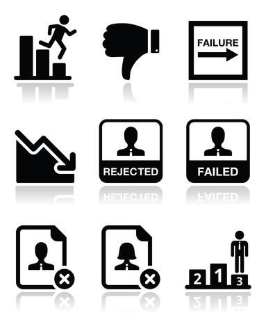 Failure, rejected man icons set  Vector