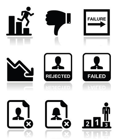 failure: Failure, rejected man icons set  Illustration