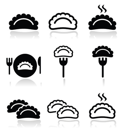 main course: Dumplings, food vector icons set