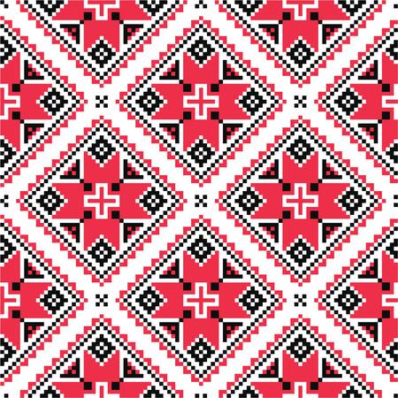 punto cruz: Popular tradicional ucraniana hecho punto patrón de bordado rojo Vectores