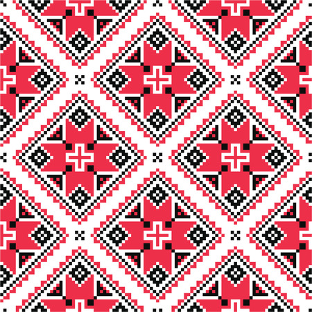 slavic: Ukrainian traditional folk knitted red embroidery pattern  Illustration