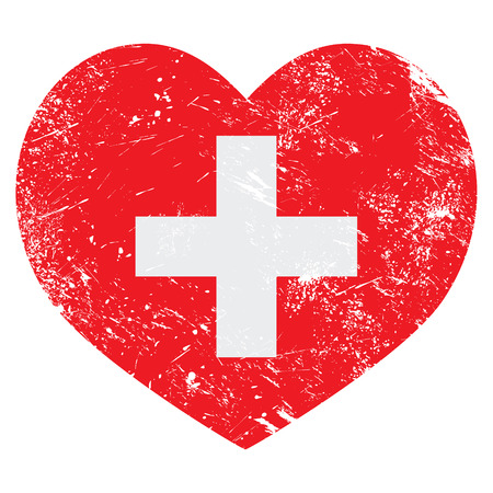 switzerland flag: Switzerland heart retro flag Illustration