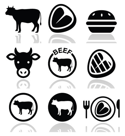eating burger: Beef meat, cow vector icon set
