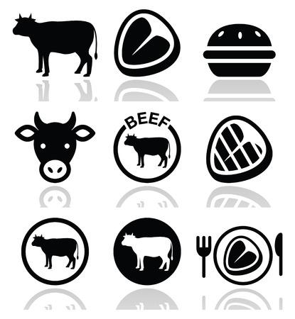 carnicero: La carne de vacuno, vaca vector icon set Vectores