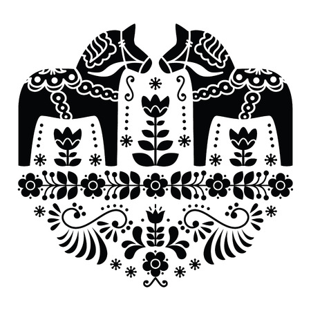 スウェーデンのダラまたは Daleclarian 馬民俗花柄黒と白  イラスト・ベクター素材