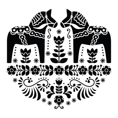 Szwedzki koń Dala lub Daleclarian ludowy wzór kwiatowy w kolorze czarnym i białym