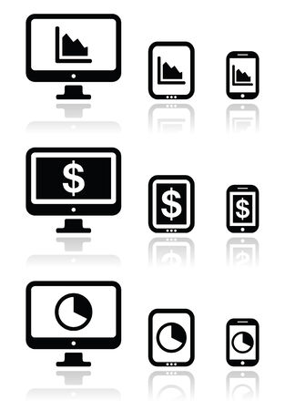 smartphone business: Business, chart on computer, tablet, smartphone vector icons set
