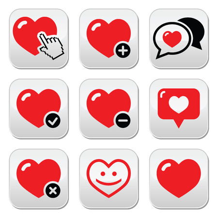Heart, love icons set Vector