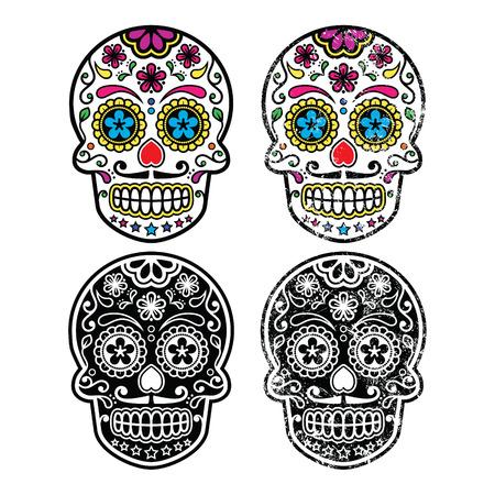 morte: Crânio do açúcar retro mexicano, Diâmetro de los Muertos ícones definir Ilustração