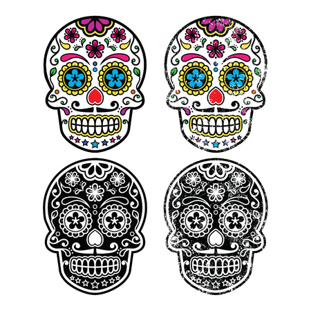 mexican culture:  Mexican retro sugar skull, Dia de los Muertos icons set