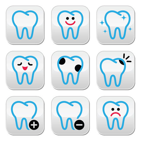 Tooth, teeth icons set in color Vector