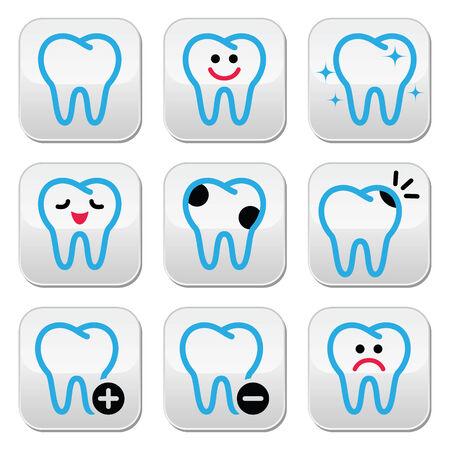 bad teeth: Tooth, teeth icons set in color