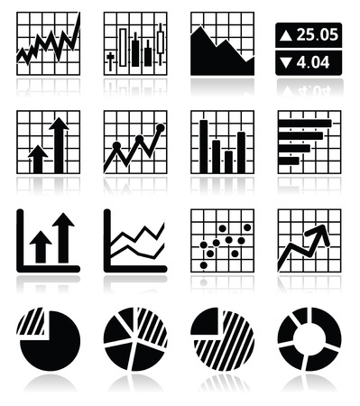 bell curve: Stock market analysis, chart and graph icons set
