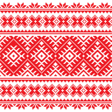 eastern europe: Seamless Ukrainian folk red embroidery pattern