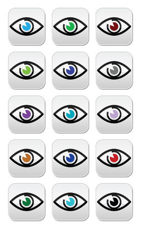 Eye colors sight icons set  Vector