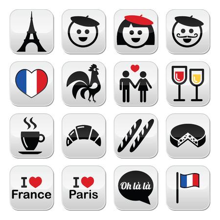i love paris: France, I love Paris icons set Illustration