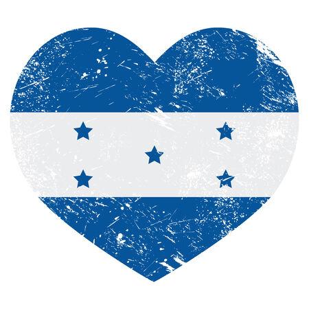 carribean: Bandera en forma de coraz�n retro Honduras Vectores